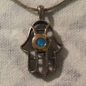 Sterling silver Hamsa Hand Of Fatima Necklace Opal